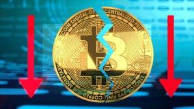 Συντριβή τιμών φυσαλίδων Bitcoin, γραφική παράσταση αξίας που πηγαίνει κάτω στοκ φωτογραφίες