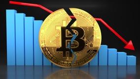 Συντριβή τιμών φυσαλίδων Bitcoin, γραφική παράσταση αξίας που πηγαίνει κάτω ελεύθερη απεικόνιση δικαιώματος