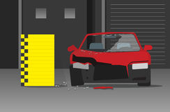 Συντριφθείσα διανυσματική απεικόνιση αυτοκινήτων στο σκοτεινό γκαράζ, έννοια δοκιμής συντριβής Στοκ εικόνες με δικαίωμα ελεύθερης χρήσης