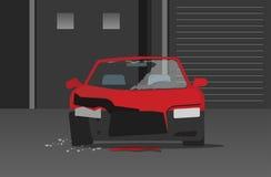 Συντριφθε'ν αυτοκίνητο στο διάνυσμα οδών νύχτας, έννοια του αυτόματου εγκλήματος απεικόνιση αποθεμάτων