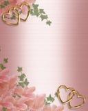 συνόρων floral γάμος σατέν πρόσκλησης ρόδινος