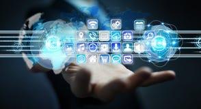 Συνδέοντας κόσμοι επιχειρηματιών στα προγράμματα εικονιδίων και εφαρμογών Στοκ εικόνες με δικαίωμα ελεύθερης χρήσης
