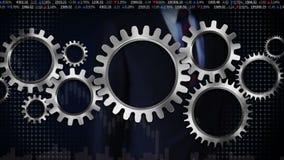 Συνδέοντας ρόδες εργαλείων, και επιχειρηματίας σχετικά με τη μεγάλη ρόδα εργαλείων