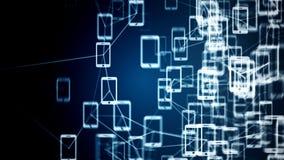 Συνδέσεις μεταξύ των τηλεφώνων, έννοια ΤΠ της τεχνολογίας σύννεφων Στοκ Εικόνες