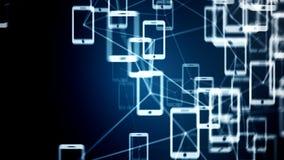 Συνδέσεις μεταξύ των τηλεφώνων, έννοια ΤΠ της τεχνολογίας σύννεφων Στοκ εικόνα με δικαίωμα ελεύθερης χρήσης