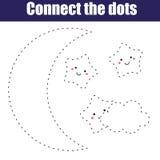 Συνδέστε το εκπαιδευτικό παιχνίδι παιδιών σημείων Εκτυπώσιμο φύλλο εργασίας δραστηριότητας Φεγγάρι νύχτας και χαριτωμένα αστέρια απεικόνιση αποθεμάτων