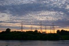 Συνδεμένο με καλώδιο ηλιοβασίλεμα Στοκ εικόνα με δικαίωμα ελεύθερης χρήσης