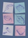 συνδετήρες όπως τις προμήθειες σούπας γραφείων Στοκ Εικόνα