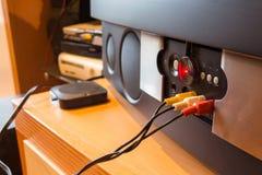 Συνδετήρες RCA για τον τηλεοπτικό και στερεοφωνικό ήχο στοκ φωτογραφίες με δικαίωμα ελεύθερης χρήσης