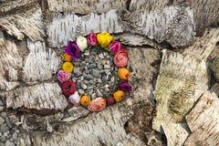 Συνδεδεμένα διαφορετικά ξηρά τριαντάφυλλα στο στεφάνι Στοκ φωτογραφία με δικαίωμα ελεύθερης χρήσης