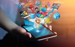 Συνδεδεμένες επιχειρηματίας εφαρμογές συσκευών και εικονιδίων τεχνολογίας με Στοκ εικόνες με δικαίωμα ελεύθερης χρήσης