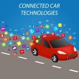 Συνδεδεμένες τεχνολογίες αυτοκινήτων διανυσματική απεικόνιση