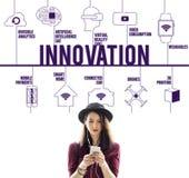 Συνδεδεμένη καινοτομία έννοια τεχνολογίας κηφήνων Στοκ Εικόνες