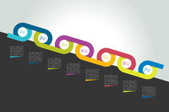 Συνδεδεμένη κύκλος έννοια υπόδειξης ως προς το χρόνο, διάγραμμα, σχέδιο, infographics Στοκ Φωτογραφίες