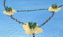 Συνδεδεμένου νησιού με του ξύλινου λιμενοβραχίονα Στοκ φωτογραφία με δικαίωμα ελεύθερης χρήσης