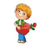 συνδεδεμένο διάνυσμα βαλεντίνων απεικόνισης s δύο καρδιών ημέρας Αγόρι με ροδαλό υπό εξέταση με την καρδιά Στοκ εικόνα με δικαίωμα ελεύθερης χρήσης