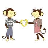 συνδεδεμένο διάνυσμα βαλεντίνων απεικόνισης s δύο καρδιών ημέρας Ζευγάρι των πιθήκων αγοριών και κοριτσιών ερωτευμένων Στοκ Φωτογραφίες