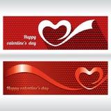 συνδεδεμένο διάνυσμα βαλεντίνων απεικόνισης s δύο καρδιών ημέρας Αφηρημένη ευχετήρια κάρτα με τις κορδέλλες καρδιών Στοκ Εικόνες