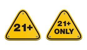 21 συν τα κίτρινα σημάδια τριγώνων Στοκ εικόνες με δικαίωμα ελεύθερης χρήσης