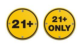 21 συν τα στρογγυλά κίτρινα σημάδια Στοκ φωτογραφία με δικαίωμα ελεύθερης χρήσης