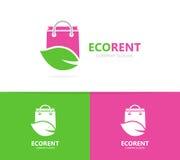 Συνδυασμός λογότυπων καταστημάτων και φύλλων Πώληση και σύμβολο ή εικονίδιο eco Μοναδική τσάντα και οργανικό πρότυπο σχεδίου logo στοκ εικόνες με δικαίωμα ελεύθερης χρήσης