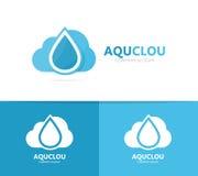 Συνδυασμός λογότυπων πετρελαίου και σύννεφων Πτώση και σύμβολο ή εικονίδιο αποθήκευσης Μοναδικό πρότυπο σχεδίου νερού και aqua lo Στοκ Εικόνες