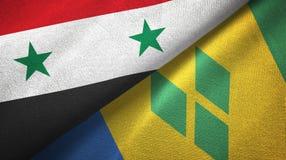 Συρία και Άγιος Βικέντιος και Γρεναδίνες δύο υφαντικό ύφασμα σημαιών ελεύθερη απεικόνιση δικαιώματος