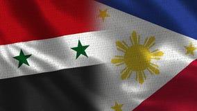 Συρία και Φιλιππίνες - σημαία δύο μαζί - σύσταση υφάσματος στοκ εικόνες