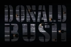 ΣΥΡΙΑ, στις 14 Απριλίου 2018 - ο Πρόεδρος Trump επαναλαμβάνει την επίθεση του George W Μπους στον κλονισμό και το δέο της Μέσης Α διανυσματική απεικόνιση