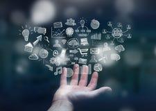 Συρμένα εικονίδια Ιστού εκμετάλλευσης επιχειρηματιών χέρι Στοκ Εικόνα
