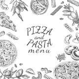 Συρμένα πίτσα μελανιού χέρι και πρότυπο επιλογών ζυμαρικών Στοκ εικόνες με δικαίωμα ελεύθερης χρήσης