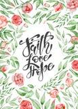 Συρμένα τα χέρι πρότυπα ευχετήριων καρτών αποσπάσματος Πάσχας με την πίστη φράσης εγγραφής, αγάπη, ελπίζουν σύγχρονο ύφος καλλιγρ Στοκ Φωτογραφίες
