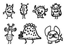 Συρμένα τα χέρι τέρατα doodles θέτουν Εικονίδια ύφους σκίτσων διακόσμηση απεικόνιση αποθεμάτων
