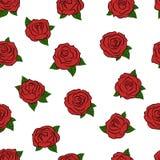 συρμένα τριαντάφυλλα χερ&i πρότυπο άνευ ραφής διάνυσμα Στοκ Εικόνες