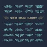 συρμένα φτερά χεριών στοιχεία σχεδίου που τί&th επίσης corel σύρετε το διάνυσμα απεικόνισης Ελεύθερη απεικόνιση δικαιώματος