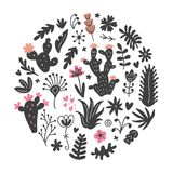 Συρμένα χέρι άγρια λουλούδια κάκτων, τροπική succulent τυπωμένη ύλη κύκλων εγκαταστάσεων Στοκ φωτογραφία με δικαίωμα ελεύθερης χρήσης
