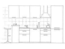 Συρμένα χέρι έπιπλα κουζινών Διανυσματική απεικόνιση στο styl σκίτσων απεικόνιση αποθεμάτων