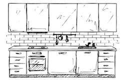Συρμένα χέρι έπιπλα κουζινών Κουζίνα σκίτσων επίσης corel σύρετε το διάνυσμα απεικόνισης στοκ εικόνα με δικαίωμα ελεύθερης χρήσης