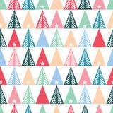 Συρμένα χέρι αφηρημένα χριστουγεννιάτικα δέντρα, αστέρια, διανυσματικό άνευ ραφής υπόβαθρο σχεδίων τριγώνων Χειμώνας διακοπές Σκα απεικόνιση αποθεμάτων