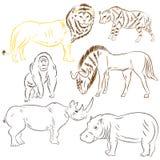 Συρμένα χέρι αφρικανικά ζώα Wilde Σχέδια Doodle του λιονταριού, γδυμένου Hyena, γορίλλας, Wildebeest, Hippo και του ρινοκέρου ελα Στοκ φωτογραφία με δικαίωμα ελεύθερης χρήσης