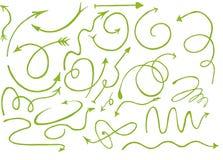 Συρμένα χέρι γραφικά πράσινα βέλη που τίθενται με το άσπρο υπόβαθρο, πράσινο doodle Στοκ Εικόνα