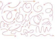 Συρμένα χέρι γραφικά ρόδινα χλωμά βέλη που τίθενται με το άσπρο υπόβαθρο, ρόδινο doodle κοραλλιών με το άσπρο και διαφανές υπόβαθ Στοκ φωτογραφία με δικαίωμα ελεύθερης χρήσης
