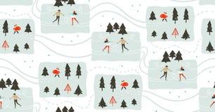 Συρμένα χέρι διανυσματικά αφηρημένα χρονικά κινούμενα σχέδια Χαρούμενα Χριστούγεννας διασκέδασης Στοκ Εικόνες