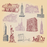 Συρμένα χέρι εικονίδια της έλξης πόλεων της Νέας Υόρκης Στοκ Εικόνες