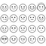 Συρμένα χέρι εικονίδια Emoji προσώπων Smiley Στοκ εικόνες με δικαίωμα ελεύθερης χρήσης