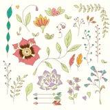 Συρμένα χέρι εκλεκτής ποιότητας λουλούδια και floral στοιχεία για τις διακοπές Στοκ εικόνα με δικαίωμα ελεύθερης χρήσης