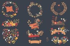 Συρμένα χέρι εκλεκτής ποιότητας λουλούδια και floral στοιχεία για τους γάμους, Val Στοκ Εικόνα