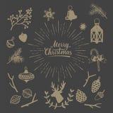 Συρμένα χέρι εκλεκτής ποιότητας στοιχεία Χριστουγέννων Αγροτικό διακοσμητικό διανυσματικό σύνολο σχεδίου Στοκ Εικόνα