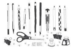 Συρμένα χέρι εργαλεία τέχνης Στοκ εικόνες με δικαίωμα ελεύθερης χρήσης