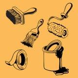 Συρμένα χέρι εργαλεία ζωγραφικής, ένταση προμηθειών 1 Στοκ Εικόνες